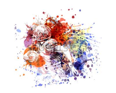 Naklejka Zawiera kolor ilustraci futbolu amerykańskiego gracza