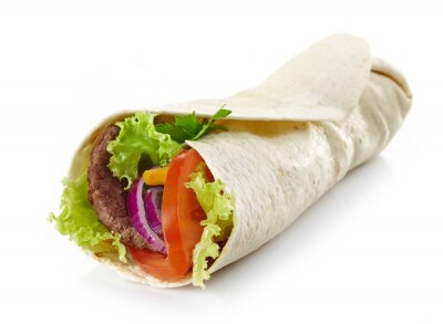 Naklejka Zawinąć z mięsem i warzywami