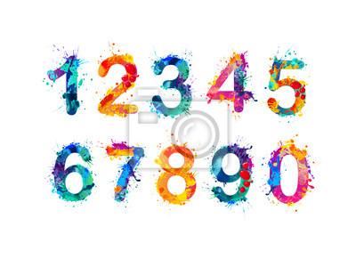 Naklejka Zbiór cyfr. Liczby, liczby