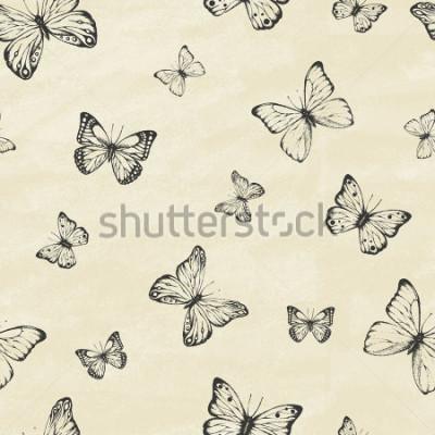 Naklejka Zbiór ręcznie używanych motyle. Entomologiczny zbiór motyli o dużej szczegółowości. Vintage w stylu retro. Obejmuje wzór. Ilustracji wektorowych.