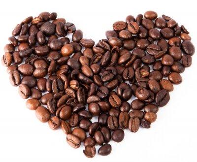 Naklejka zbliżenie serce wykonane z naturalnej brązowej palona Kawa była