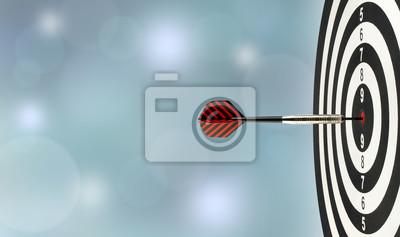 Naklejka zbliżenie strzałka dart uderzanie w centrum celu na tarczy w drewnianej tarczy z niewyraźne niebieskie światła bokeh kopia przestrzeń tła, cel doskonałości sukces, symbol celu i osiągnięcia