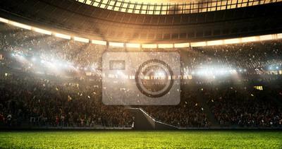 Naklejka Zdjęcie profesjonalnego stadionu piłkarskiego, gdy świeci słońce