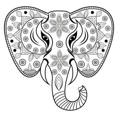 Naklejka Zdobione słonia głowy wektorowe, Testa di słoń porcelany i vettoriale isolato su sfondo bianco