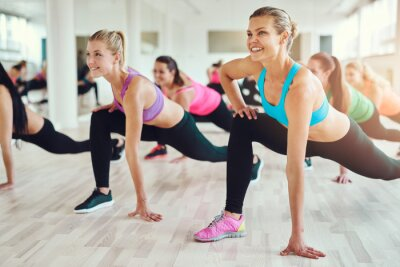 Naklejka Zdrowych i zdolnych kobiet robi fitness