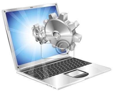 Zębów biegów wylatujące z ekranu laptopa koncepcji