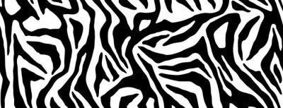 Naklejka Zebra fur repeating texture. Animal skin stripes, jungle wallpapers. Black and white seamless pattern. Vector