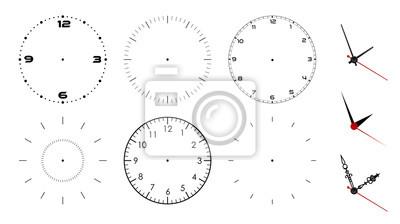 Naklejka Zegarowej twarzy puste miejsce odizolowywający na białym tle. Wskazówki zegara wektor. Zestaw do projektowania zegarków
