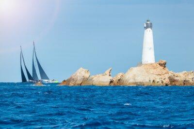 Naklejka żeglarstwo na Sardynii, Monaci latarni na wyspie, Włochy