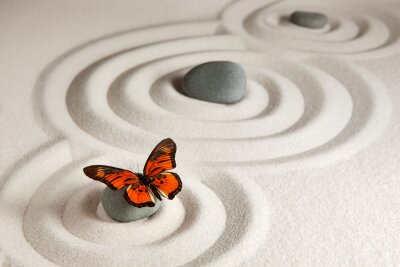 Naklejka Zen kamienie z motylem