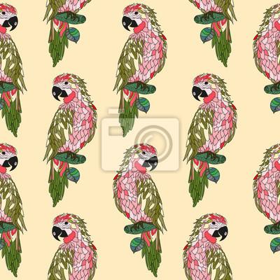Zentangle stylizowane Parrot kreskówki.