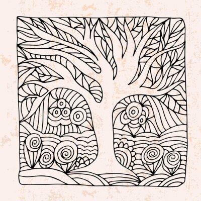 Naklejka Zentangle z drzewa i kwiaty