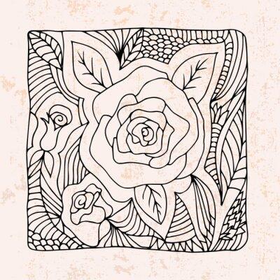 Naklejka Zentangle z róż i liści
