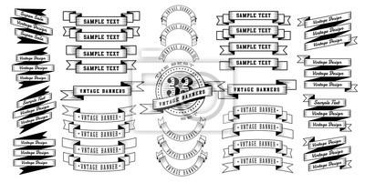 Naklejka Zestaw 33 wstążki rocznika banerów. Retro banery na białym tle. Ilustracji wektorowych.