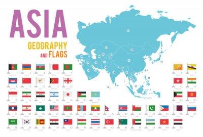Naklejka Zestaw 50 flag Azji na białym tle i mapę Azji z krajów znajdujących się na nim.