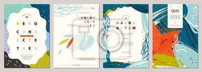 Naklejka Zestaw abstrakcyjnych kreatywnych uniwersalnych szablonów artystycznych. Dobry na plakat, kartę, zaproszenie, ulotkę, okładkę, baner, afisz, broszurę i inne projekty graficzne.