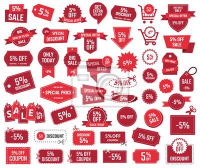 Naklejka zestaw bannerów rabatowych, 5% zniżki na kupony rabatowe