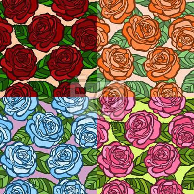zestaw bez szwu tle. róże z zielonymi liśćmi. starego stylu.