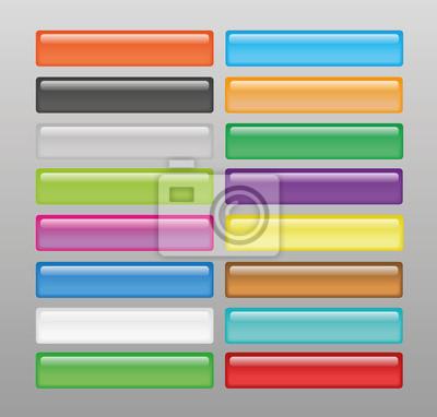 Zestaw błyszczących kolorowych przycisków internetowych.