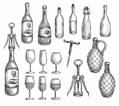 Naklejka Zestaw butelek wina, okulary i korkociągi