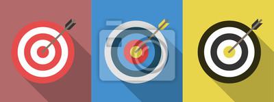 Naklejka Zestaw celów z strzałkami. Docelowe ikony płaskie