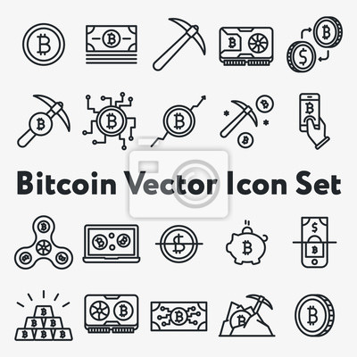 Zestaw cienkich linii skoku Vector Bitcoin, Blockchain i Cryptocurrency Ikony. Górnictwo, moneta, piknik, złoto, pieniądze, przędzarka, karta graficzna, telefon, laptop, wymiana.