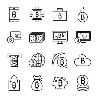 Zestaw cienkich linii skoku wektor Bitcoin i ikony kryptograficzne
