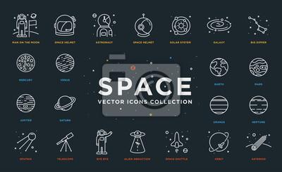 Zestaw cienkowieczu skoku wektor astronomia i ikony miejsca. Spaceman, astronauta, hełm, system słoneczny, galaktyka, planety, ziemia, Marsa, satelita, porwana obcy, wahadłowiec, orbita, asteroida
