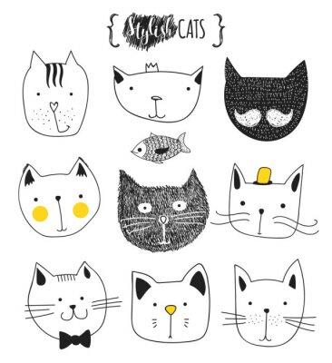 Naklejka Zestaw Cute doodle kotów. Szkic kota. Cat Sketch. Spódniczka Kat. Print T-shirty dla kota. Broszura na ubrania. Kids Doodle zwierząt. Stylowe koty kaganiec. Izolowane kota. Zwierzę domowe