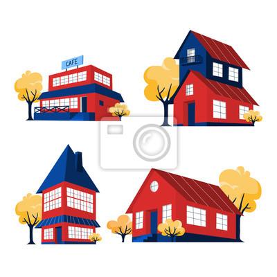 Zestaw czerwonych domów. Budynki miejskiego domku.