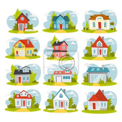 Zestaw czerwonych domów. Domki miejskie.
