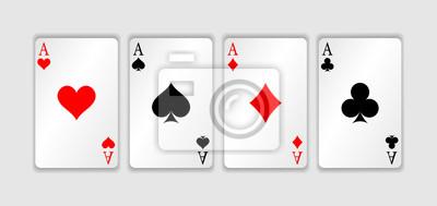 Naklejka Zestaw czterech asów do gry w karty. Wygrywająca ręka pokera. Zestaw kier, pik, kluby i diamenty asa