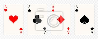 Naklejka Zestaw czterech kolorów kart do gry asy. Zwycięska ręka pokera. Zestaw serc, pików, kijów i asów diamentów
