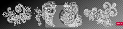 zestaw czterech kwiatów wzór paisley wyizolowanych na przezroczystym grzbiecie