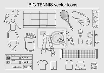 Zestaw dużych ikon wektorowych tenis
