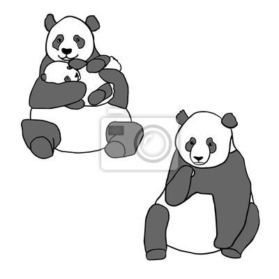Naklejka Zestaw dwóch cute pandy i szczenię. Ręcznie rysowane ilustracji wektorowych na białym tle. Cute matki Panda z małym dzieckiem i siedzi panda