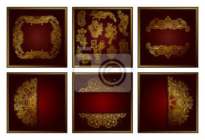 zestaw elegancki złoty wzór ozdobnych koronek