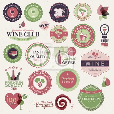 Zestaw etykiet i elementów dla wina