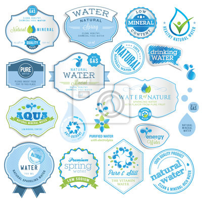Zestaw etykiet wody