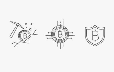 Zestaw ikon Bitcoin i Cryptocurrency linii obrysu linii