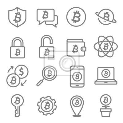 Zestaw ikon Bitcoin i Cryptocurrency linii obrysu linii. bezpieczeństwo, moneta, portfel, wymiana, pieniądze, blokada, online, telefon, lokalizacja.