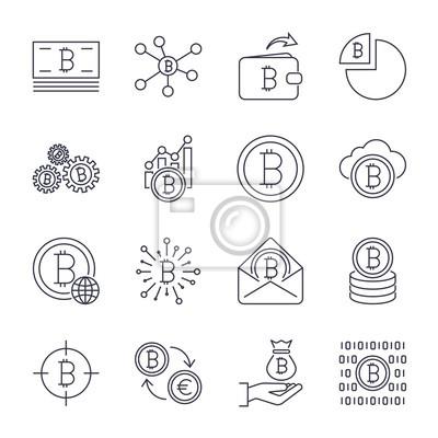 Zestaw ikon bitcoin i kryptowaluty wektor linii skoku. Górnictwo, monety, kilof, złoto, pieniądze, wymiana. Zestaw ikon dla aplikacji, programów, witryn i innych. Edytowalny obrys.