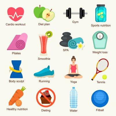 Naklejka Zestaw ikon fitness