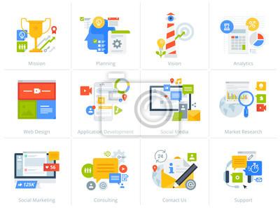 Zestaw ikon koncepcja stylu Płaska konstrukcja na białym tle. Ilustracje wektorowe dla biznesu, zarządzania, doradztwa, komunikacji, marketingu, badań rynku, aplikacji i rozwoju sieci, mediów społeczn