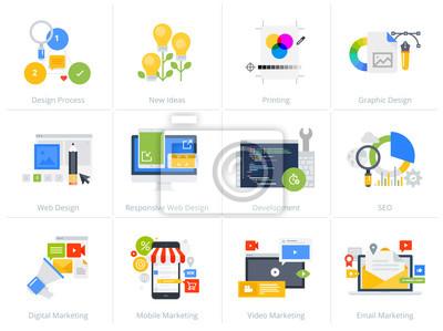 Zestaw ikon koncepcja stylu Płaska konstrukcja na białym tle. Ilustracje wektorowe do projektowania i tworzenia stron internetowych, SEO, responsywnego projektowania stron internetowych, projektowania