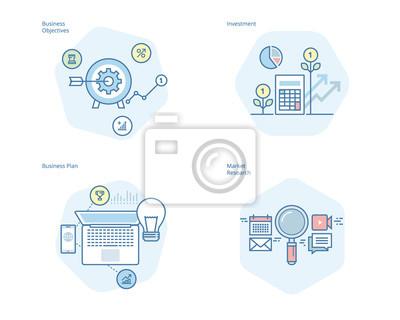 Zestaw ikon koncepcji linii dla biznesu plan i cele, badania rynku, inwestycje. Zestaw UI / UX do projektowania stron internetowych, aplikacji, interfejsu przenośnego, infografiki i projektowania wydr
