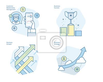 Zestaw ikon koncepcji linii dla CRM, strategii biznesowych, wzrostu i sukcesu. Zestaw UI / UX do projektowania stron internetowych, aplikacji, interfejsu przenośnego, infografiki i projektowania wydru