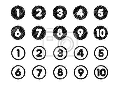 Naklejka zestaw ikon liczby drowingowej kredy (od 1 do 10)