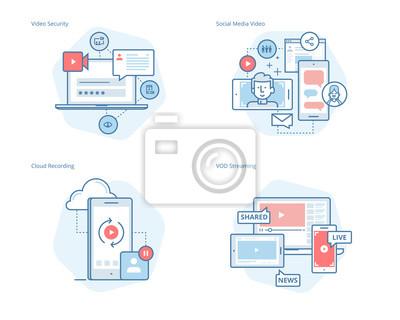 Zestaw ikon linii koncepcyjnych dla social media video, nagrywanie w chmurze, przesyłanie strumieniowe VOD, zabezpieczenie wideo, streaming wideo online. Zestaw UI / UX do projektowania stron internet