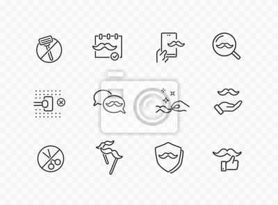Zestaw ikon linii wąsy na przezroczystym tle. Wektor wąsy opieki, nie ma znaków golenia. Symbole kampanii promującej raka prostaty w listopadzie.